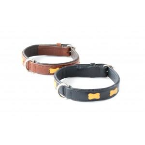 7002 HB Hondenhalsband Met Smalle Lederen Botjes
